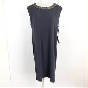 Calvin klein charcoal shift beaded party dress